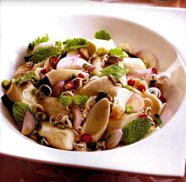 อาหารเพื่อสุขภาพ ยำตะไคร้เห็ดออรินจิ